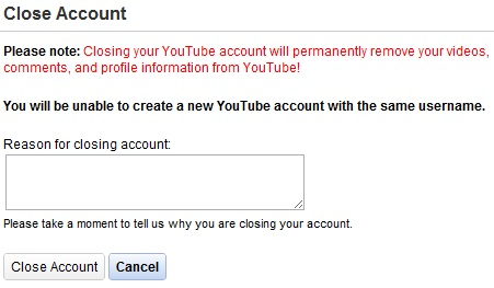 Closing youtube account