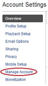 Youtube Manage Account