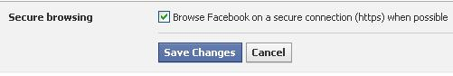 Turn on secure browsing in facebook