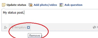Remove the location in Facebook status