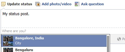 Share location in Facebook Status