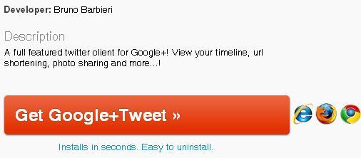 Install Google + Tweet application