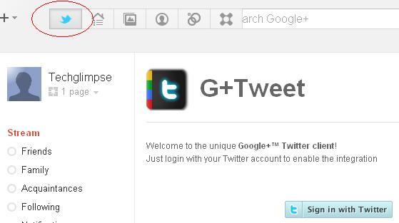 Launch twitter inside google plus
