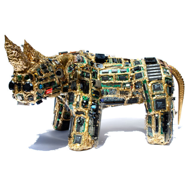 Arts and sculptures made of computer components