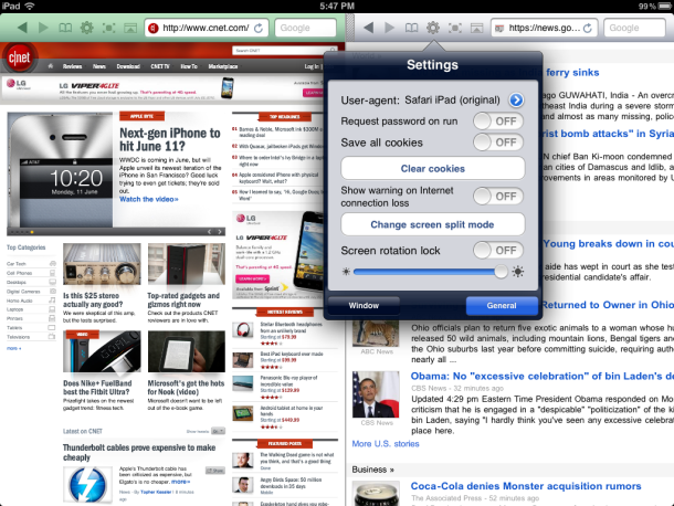 Dual Browser app for iPad