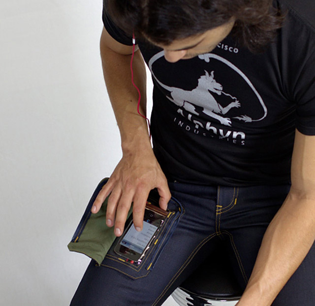 DELTA415 Wearcom jean will have a transparent pocket to hold your cell phone