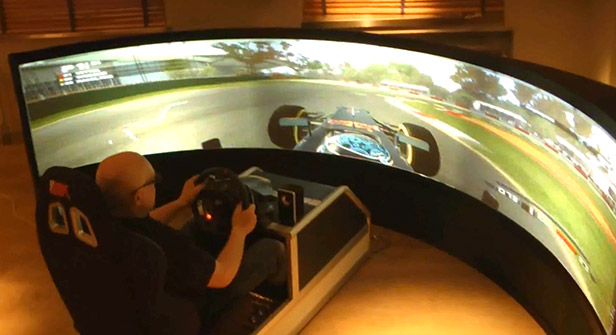 175 Degree Curved Display Screen For A F1 Racing Simulator