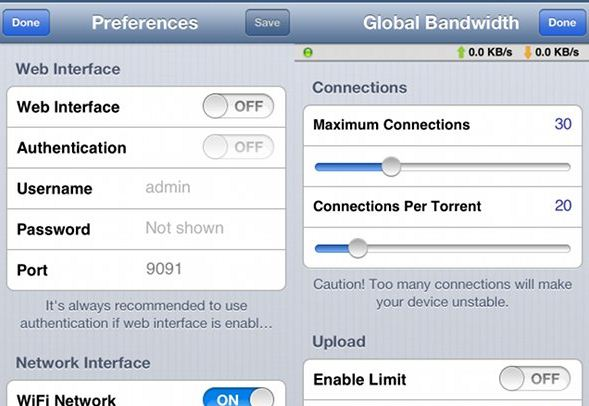 iTransmission a BitTorrent app for Jailbreak users