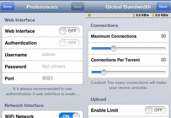 iTransmission a BitTorrent app for Jailbreak users