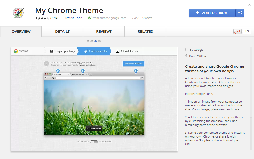 My Chrome Theme from Chrome Web store