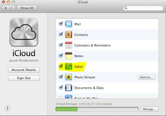 how to turn off safari syncing with icloud