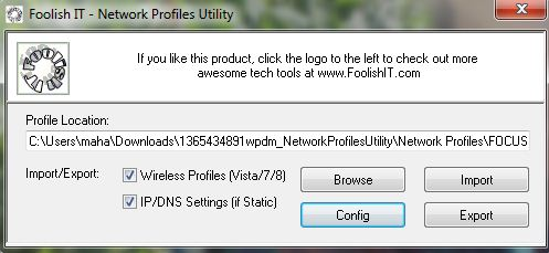 Network Profiles Utility for Windows