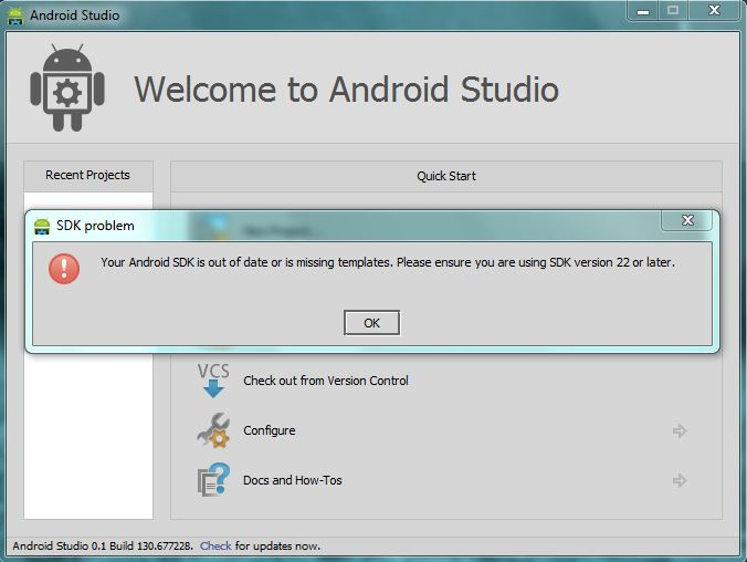 Getting SDK Problem while creating new project in Android Studio ...