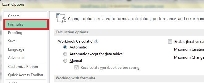 Excel 2013 - Disable Automatic calculation