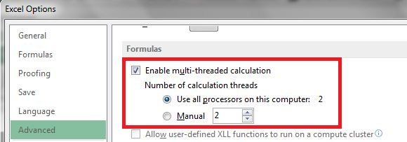 Excel enable multi-threading feature
