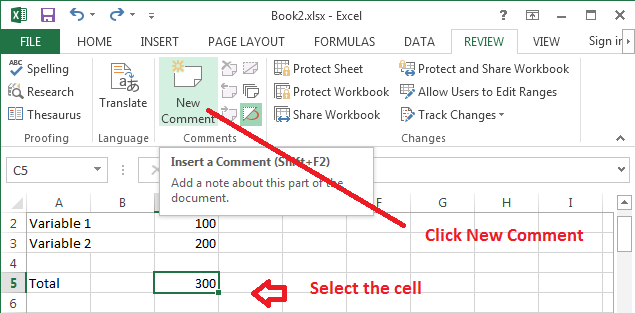 Add a comment to cell in Excel 2013