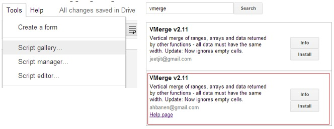 VMerge Script Galery Google Spreadsheet
