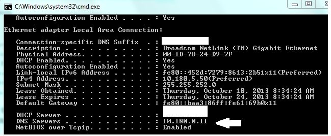 find ip address from dns
