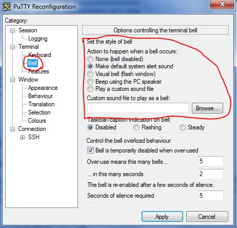 Custom alert sound in PuTTY