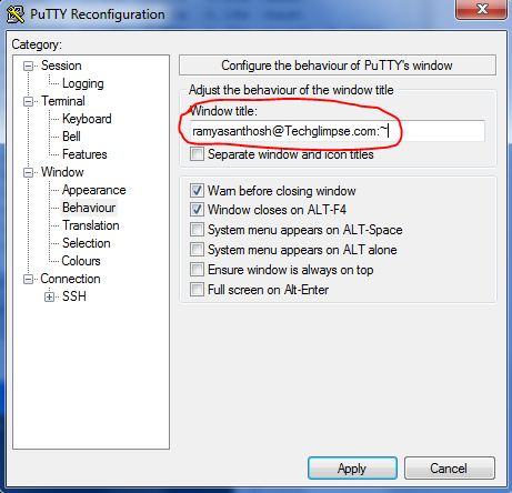 How to change PuTTY Window Title