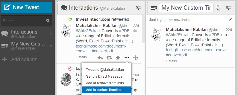 add custom timeline twitter