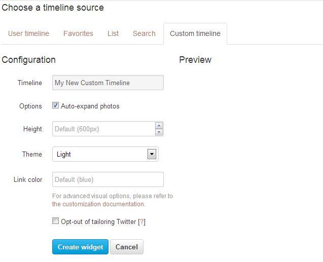 embed custom timeline twitter