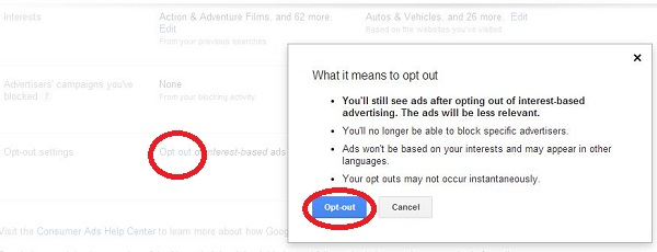 Opt Out Google Interest Based Ads