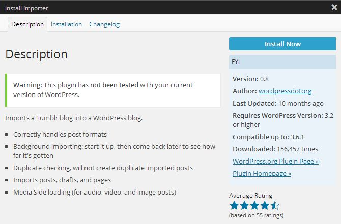 Install Tumblr Importer Plugin - WordPress