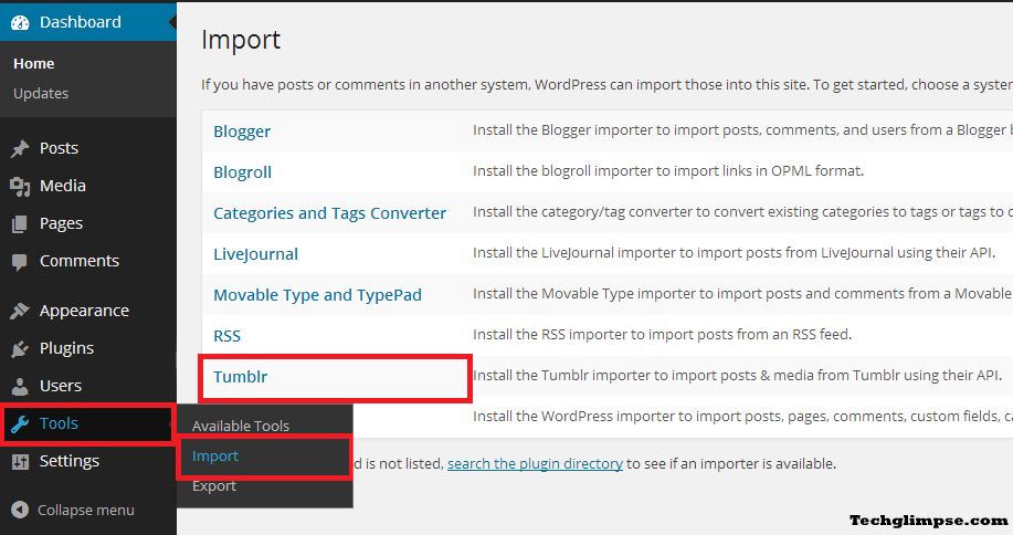 Import Tumblr Settings - WordPress