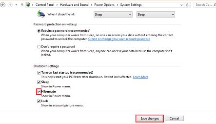 hibernate power option windows 8