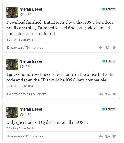 i0n1c tweets about ios8 jailbreak