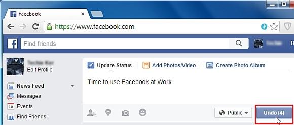 Facebook undo