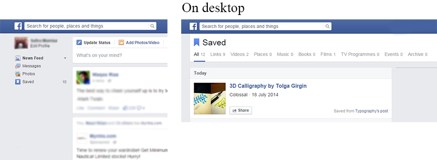 View saved Facebook content on desktop