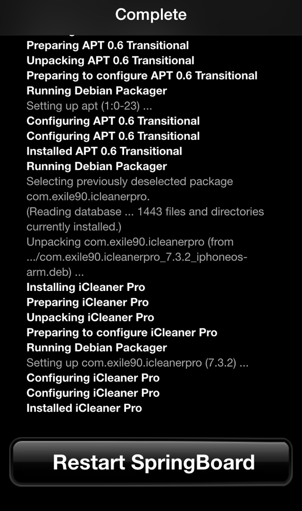 iCleaner Pro springboard