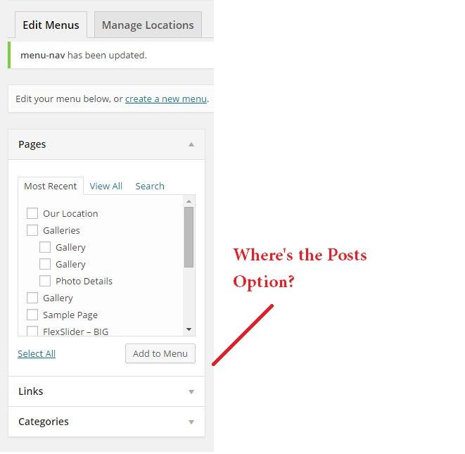 WP menu posts links