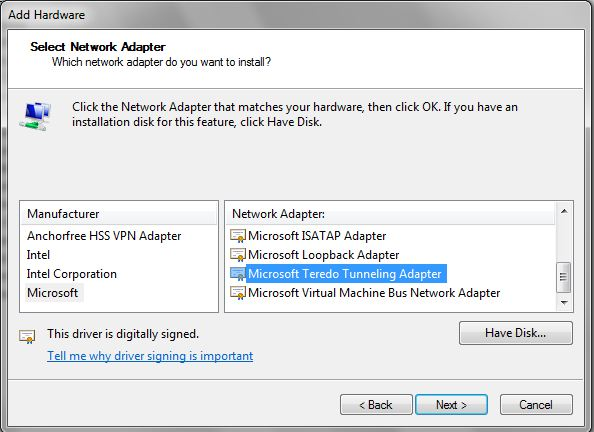How to Install and Enable Microsoft Teredo Tunneling Adapter in