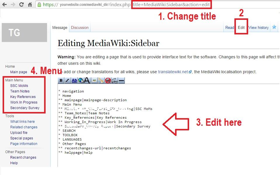 change sidebar mediawiki