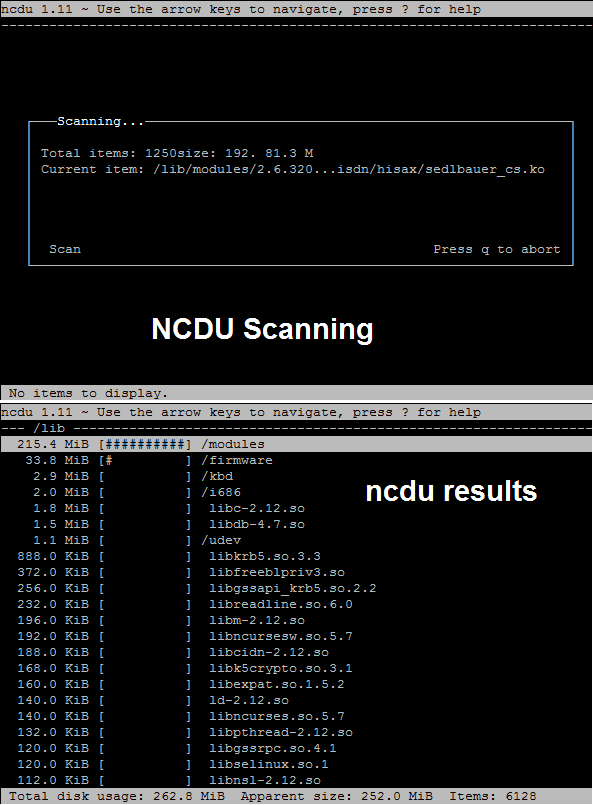 How to use ncdu command in Linux
