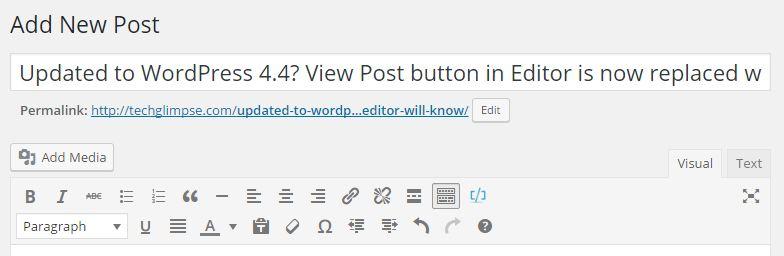 wp 4.4 editor window