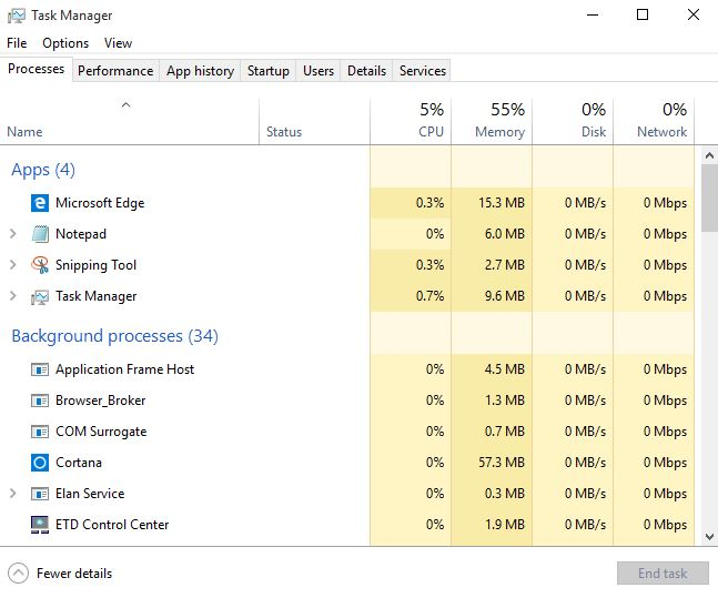 Disk usage normal