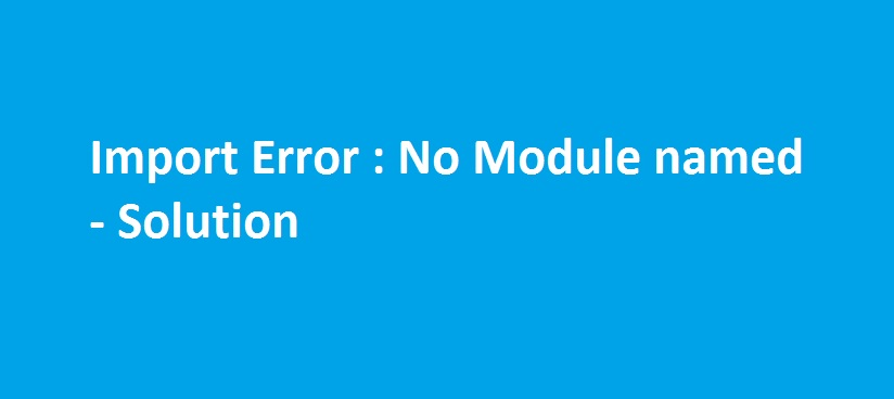 no module error solution