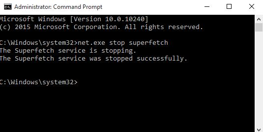 command line stop superfetch service
