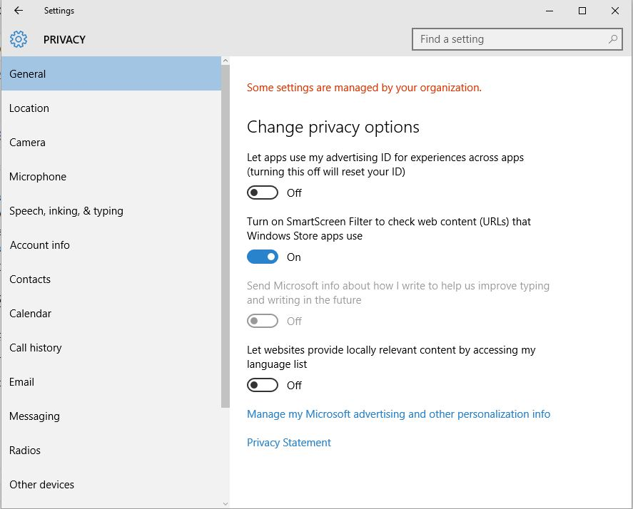 privacy settings win10