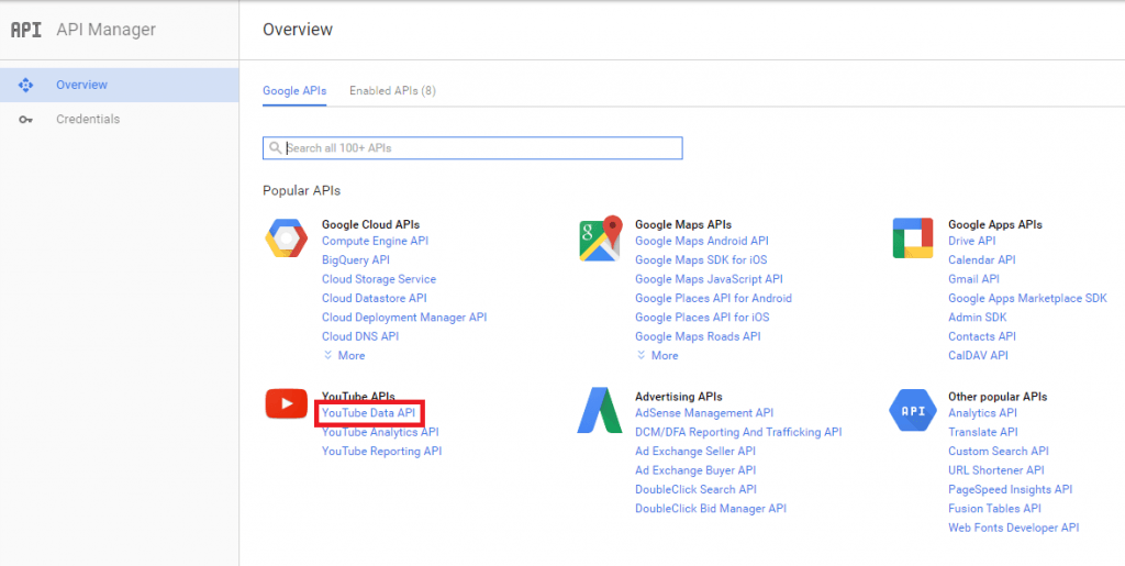 API key for youtube