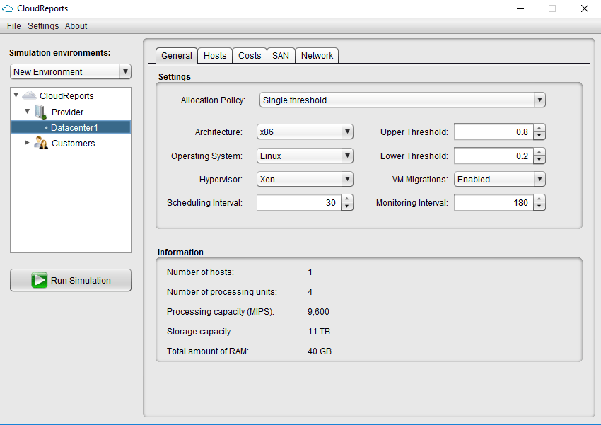 GUI for CloudSim