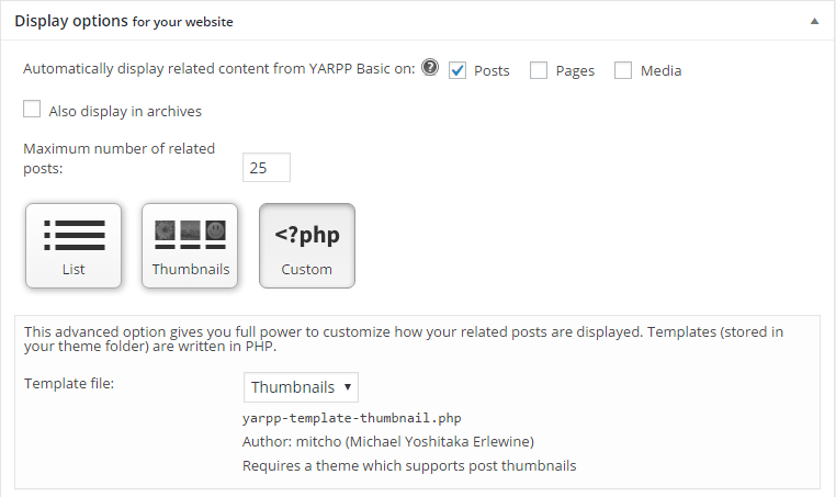 yarpp custom code