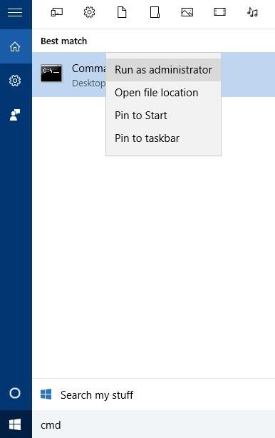 Open CommandLine with Administrator Privilege
