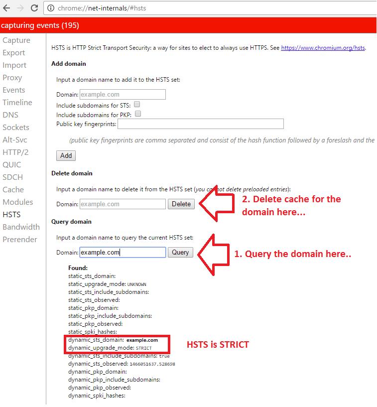 chrome delete HSTS cache