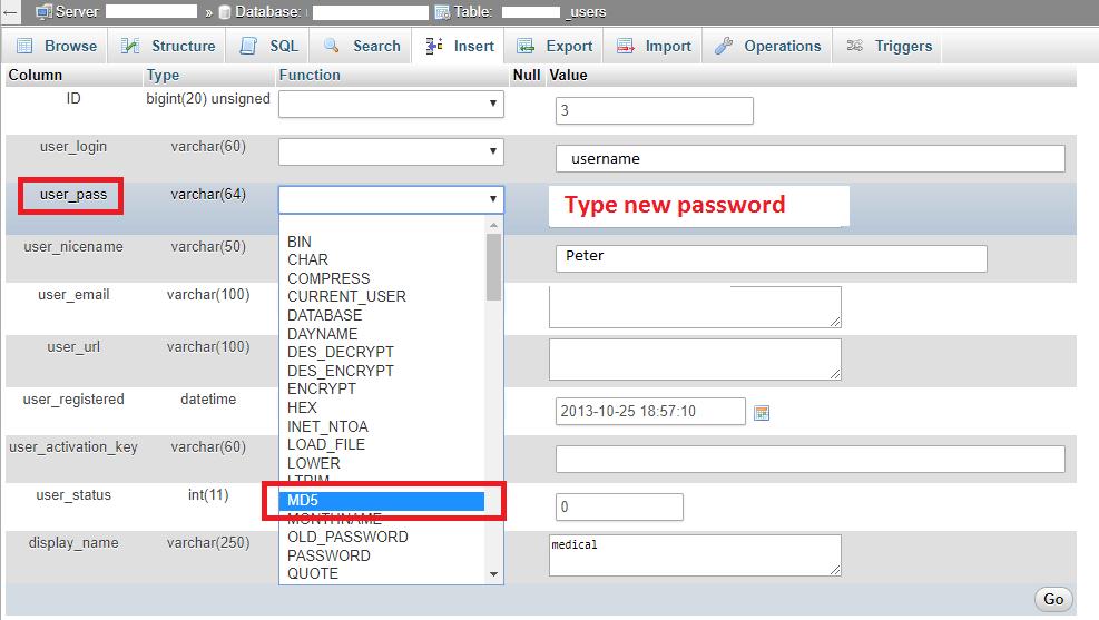 Reset WordPress Password via PHPMyAdmin