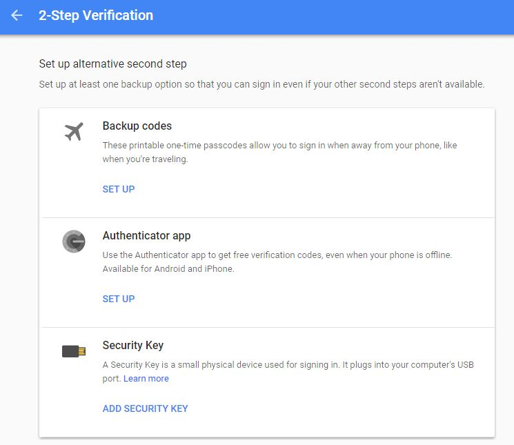 Google backup code